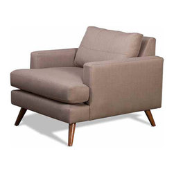 Truemodern - Dane Chair - Dane Chair by TrueModern designed by Edgar Blazona.. With its Danish styled wood legs and intricately stitched back cushions, the Dane Chair is an all-around showpiece of a chair - and a dang comfortable seat. Perfect for use against a wall or even in the center of a room to help define a social area, this chair has details like cording and super-slim arms to give it character, and you won't find a chair with more gorgeously shaped and finished legs. This modern chair delivers the look you love and the comfort you expect.
