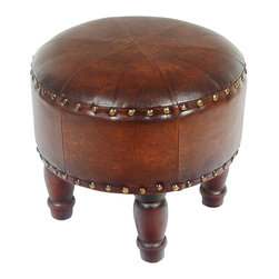 """International Caravan - International Caravan Sicily Faux Leather 17"""" Round Stool in Brown - International caravan - Ottomans - YWLF2525BR - Designed by international caravan made from premium faux leather comes in brown mix pattern and dark chocolate finishes hand stitched for long lasting beauty this beautiful faux leather stool measures 17"""" in diameter and is perfect for TV areas living rooms and bedrooms. Also equipped with detachable legs for extra high and comfort."""