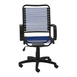 Euro Style - Bradley Bungie Office Chair - Blue/Graphite Black - Designed to fit your seat.  And your back.  And your work style.  With natural ventilation, the Bungies turn long hours of work into the comfort zone.  No napping!