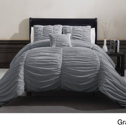 None - Madeira 4-piece Comforter Set - Style and sophistication will be the focus of your bedroom when you use this elegant comforter set from Madeira. The thick textured ruched surface will add softness to the design when you sleep,and the set is machine washable for easy cleanup.