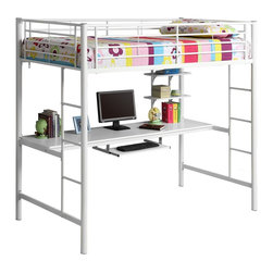 Walker Edison - Walker Edison Sunrise Metal Twin/Workstation Bunk Bed - White X-HWZOTB - This simple, yet contemporary twin-over-workstation bunk bed conveys chic style with clean lines and finish. A sturdy, steel-crafted frame with powder coated finish promises stability and function. Designed with safety in mind, this bed includes full length guardrails and integrated ladders. This bed is ideal for space-saving needs with a full work table top, pull-out keyboard tray and shelving for additional storage constructed of high-grade MDF.Features:&#8226: Stylish, contemporary design&#8226: Bunk supports 250 lbs.&#8226: Attractive powder-coated finish&#8226: Desk top and shelves made with high-grade MDF&#8226: Spacious work area with keyboard tray and shelving&#8226: Conforms to the latest consumer product safety standards&#8226: Ideal for space-saving needs&#8226: Support slats included, no box spring needed&#8226: Maximum recommended upper mattress thickness of 9 in.&#8226: Does NOT include mattresses or bedding&#8226: Ships ready-to-assemble with necessary hardware and tools&#8226: Assembly instructions included with toll-free number and online support