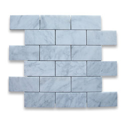 "Stone Center Corp - Carrara Marble Subway Brick Mosaic Tile 2x4 Honed - Carrara white marble 2x4"" brick pieces mounted on 12"" x 12"" sturdy mesh tile sheet"