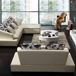 Ackro Leather Sectional Set - Innovative styling meets thick leather upholstery and 3-pieced versatility with this eye-catching Ackro Sectional Set.