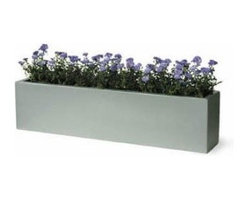 Geo Window Box Planter - These window boxes match the Geo Square planters.  They are made of fiberglass, are long-lasting, and easy to maintain.  They retail for $233.77 with free shipping from http://www.windowboxplanters.com