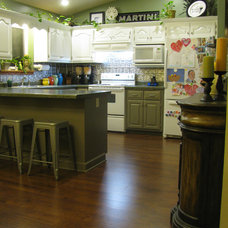 Eclectic  Kitchen Remodel - White, green and silver