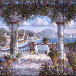 The Tile Mural Store (USA) - Tile Mural - Tuscan Serenade - Dl - Kitchen Backsplash Ideas - This beautiful artwork by Dennis Lewan has been digitally reproduced for tiles and depicts a tuscan restaurant scene by the water  Waterview tile murals are great as part of your kitchen backsplash tile project or your tub and shower surround bathroom tile project. Water view images on tiles such as tiles with beach scenes and Mediterranean scenes on tiles Tuscan tile scenes add a unique element to your tiling project and are a great kitchen backsplash idea. Use one or two of our landscape tile murals for a wall tile project in any room in your home for your wall tile project.