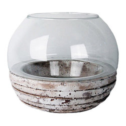 None - Round Candle Holder - A distressed base and clear glass bowl give this unique candle holder the perfect combination of style and function. Fill your home with a sweet scent as you interchange any candle you wish.