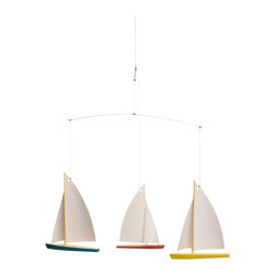 Flensted Mobiles - Dinghy Regatta 3 Mobile - Fleet week! This regatta of three single-mast dinghies works just about anywhere you hang it — whether displayed in your lake house, over the crib or in a playroom. Constructed with a wooden hull and outfitted with paper sails, they tack and jibe with the faintest breeze to the delight of little sailors and old sea dogs alike.