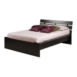 """Prepac - Avanti Platform Bed - Avanti platform beds feature an elegant, contemporary design that will add a level of sophistication to any bedroom. The integrated headboard is a stylish and cost effective alternative to purchasing a bed and headboard separately. The headboard is notched at the base to accommodate a 4.5'' baseboard, which allows you to place the bed flush against the wall. A 3'' deep recess ensures that your mattress will fit'snugly within the bed frame and sides are finished. Features: -Constructed with composite wood.-Wood slats distribute body weight evenly and eliminate the need for a box spring.-The gently sloped headboard provides the perfect position for reading or watching television in bed.-Storage space underneath the platform base is ideal for storage baskets or tote boxes.-Avanti collection.-Distressed: No.-Collection: Avanti.-Country of Manufacture: Canada.Dimensions: -Sturdy 3.5'' wide MDF rails.-Full: 34"""" H x 62.5"""" W x 81.25"""" D.-Queen: 34"""" H x 68.5"""" W x 86.25"""" D.-Overall Product Weight: 160lbs."""