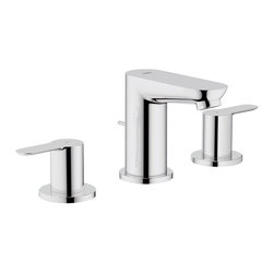 "Grohe - Grohe 20374000 Starlight Chrome Bau Edge Widespread Bathroom Faucet - Product Features:  Faucet body constructed of solid brass Covered under Grohe s limited lifetime warranty Grohe faucets are exclusively engineered in Germany Finishes will resist corrosion and tarnishing through everyday use - finish covered under lifetime warranty Stainless steel braided flexible supplies Double handle operation - handles rest on 1/4 turn valves ADA compliant - complies with the standards set froth by the Americans with Disabilities Act for bathroom faucets Low lead compliant - meeting federal and stat regulations for lead content WaterSense Certified product - using at least 30% less water than standard 2.2 GPM faucets, while still meeting strict performance guidelines Designed for use with standard U.S. plumbing connections  Product Specifications:  Overall Height: 4-1/4"" (measured from counter top to the highest part of the faucet) Spout Height: 3-3/16"" (measured from the counter top to the spout outlet) Spout Reach: 3-9/16"" (measured from the center of the faucet base to the center of the spout outlet) Installation Type: Widespread Number of Holes Required for Installation: 3 Faucet Centers (Distance Between Handle Installation Holes: 5-1/2""-17-3/8"" (Adjustable) Flow Rate: 1.5 GPM (gallons-per-minute) Maximum Deck Thickness: 1-3/16"" 2 handles included with faucet  Product Technologies / Benefits:  Starlight Finish: Continuously improving over the last 70 years Grohe's unique plating process has been refined to produce and immaculate shiny surface that is recognized as one of the best surface finishes the world over. Grohe plates sub layers of copper and/or nickel to ensure that a completely non-porous, immaculate surface awaits the"