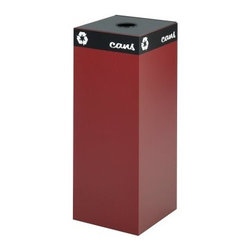 Safco Public Square 37 Gallon Burgundy Recycling Bin - This bright burgundy recycling bin is hard to miss and will encourage others to recycle instead of just throwing everything into the trash. The Safco Public Square Burgundy Recycling Bin - 37-Gallons is constructed out of heavy-duty steel with a powder coat finish to ensure that this bin is strong and durable. The hinged top options are designed to accept cans glass newspaper or waste. The included decals let you designate whether your bin is for recyclables or waste. The securing wires hold the plastic container bags in place so you won't have to go digging for them. This recycling bin measures 15.25L x 15.25W x 38H inches and your choice of lids