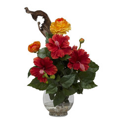 Nearly Natural - Hibiscus & Ranunculus w/Fluted Bowl Silk Flower Arrangement - Put this in a window and watch the birds and bees gather! That's how lifelike and lush this beauty looks. By combining the Hibiscus with the Ranunculus, we've created the perfect mix of color and texture that literally explodes with delight! You got your greens, your yellows, your reds, all coming together in a classy fluted bowl w/ faux water. Perfect for anywhere in your home or office, and also makes a great gift.