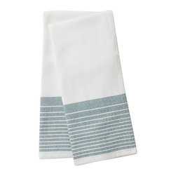 "Coyuchi - Diamond Stripe Kitchen Towel Set 16""x24"" Moss - The perfect kitchen towel should be generously sized, truly absorbent and attractive enough that you won't mind hanging it in plain sight to dry. Woven from soft, thirsty organic cotton, with a diamond weave and bright yarn-dyed stripes, ours are all that, and earth-friendly, too. Choose a matched set of two, or opt for a set of seven, including one in each color."
