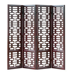 Wayborn - Double Happiness Screen - A pronounced geometric design gives the Double Happiness divider an open look. Four panels offer perfect balance with hinging that can be arranged at various angles. The wood frame offers a rich dark finish that will complement contemporary or Asian themed decor. 4 Panels. Rectangle cutouts. Made from solid Basswood. Smooth finish. 80 in. W x 78 in. H (77 lbs.)