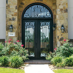 Buffalo Forge Steel Entry Door with Milano Wrought Iron design - Square Top Double Door with Transom in Milano Wrought Iron design finished in Antique Bronze color