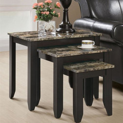 Monarch Specialties - 3-Pc Nesting Table Set in Cappuccino Finish - Marble top. Small: 12.5 in. W x 11.5 in. D x 14 in. H. Medium: 18.75 in. W x 14 in. D x 17.25 in. H. Large: 25 in. W x 15.75 in. D x 20.75 in. H (32 lbs.)When it comes to adorning your living room, this nesting table set is an attractive way to go.