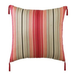 Waverly Eastern Myth Radish Euro Sham - Add bold stripes and plush softness to your bedding ensemble with the Waverly Eastern Myth Radish Euro Sham. Stripes of rich jewel tones and fringe tassels at the corners make this Euro pillow sham a natural part of the Waverly Eastern Myth Radish collection. It's made of cotton twill and is conveniently machine-washable.About Ellery HomestylesOffering curtains, bedding, throws, and specialty products, Ellery Homestyles is a leading supplier of branded and private-label home-fashion products. Their products deliver innovation in fashion, function, and design and include names like Eclipse™, Curtainfresh™, SoundAsleep™, ComfortTech™, Vue™, and Waverly. Their 357,000 square foot facility in Lumber Bridge, North Carolina includes a high-speed pillow filling operation with a capacity of approximately 40,000 pillows a week.