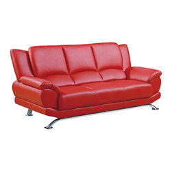 Global Furniture - Global Furniture USA 9908 Bonded Leather Sofa in Red - The Global Furniture USA Sofa has been modeled to cater to both the desires of the contemporary or transitional home for design and comfort. Upholstered in red bonded leather and leather match with chrome legs to complete the look.