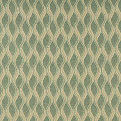 Aqua Green and Gold Wavy Striped Durable Upholstery Fabric By The Yard - P5235 is great for residential, commercial, automotive and hospitality applications. This contract grade fabric is Teflon coated for superior stain resistance, and is very easy to clean and maintain. This material is perfect for restaurants, offices, residential uses, and automotive upholstery.