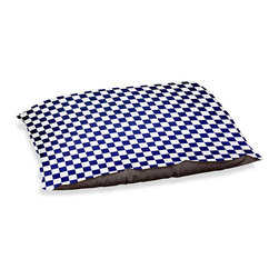 "DiaNoche Designs - Dog Pet Bed Fleece - Checkered Navy - DiaNoche Designs works with artists from around the world to bring unique, designer products to decorate all aspects of your home.  Our artistic Pet Beds will be the talk of every guest to visit your home!  BARK! BARK! BARK!  MEOW...  Meow...  Reallly means, ""Hey everybody!  Look at my cool bed!""  Our Pet Beds are topped with a snuggly fuzzy coral fleece and a durable underside material.  Machine Wash upon arrival for maximum softness.  MADE IN THE USA."