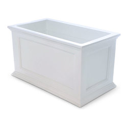 """Mayne Inc. - Fairfield Patio Planter 20x36 White - Have the look of wood without the upkeep with our high-grade polyethylene planters. Long-lasting beauty, durability and quality.  Built-in water reservoir encourages healthy plant growth by allowing plants to practically water themselves. Beautiful New England design adds a charming touch to any patio or deck. Our molded plastic planters are made from high-grade polyethylene, double wall design. Sub-irrigation water system, encourages root growth. Inside dimensions are 31""""L x 15.5""""W x 13""""D, approximately 22 gallon soil capacity, water capacity is approximately is 16 gallons (60 litres)."""
