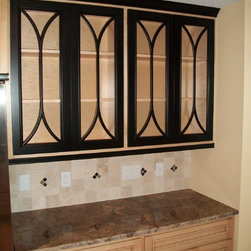 The Home Store - Cabinets, counter, and tile backsplash available at The Home Store