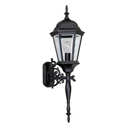 Progress Lighting - Progress Lighting P5684-31 One-Light Wall Lantern With Clear Beveled Glass Panel - Wall lantern with delicately detailed, cast, scroll arm combined with the brilliant clarity of clear, beveled glass. Can be used with or without tail.