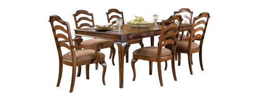 Standard Furniture - Standard Furniture Crossroad 8-Piece Leg Dining Room Set in Mid-Tone Brown - Crossroads captures the charm and elegance of Country French styling in a new, cleanly tailored interpretation.
