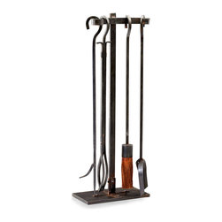 Lincoln Hearth Tools - The raw simplicity of steel is celebrated in this set of fireplace accents, the Lincoln Hearth Tools. Crafted with decisive, unadorned straight lines and a light brush of warm, rusted patina, this assertive freestanding hearth set adds a tone of the urban and updated to the fireside, creating a certain sense of hard-edged drama through its sheer utility.
