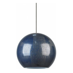 """LBL Lighting - LBL Lighting Zollo pendant light - The Zollo pendant light has been designed and made by LBL lighting. This pendant has a Spherical Italian glass shade with an organic pattern in either gray or blue. This fixture comes with 6' of field-cuttable suspension cable so you can size it to your desired height in your choice of either bronze or satin nickel. This fixture Includes 1 x 50W low-voltage GY6.35 base Xenon bi-pin lamp or 6W LED module. cETL LISTED         Product Details: The Zollo pendant light has been designed and made by LBL lighting. This pendant has a Spherical Italian glass shade with an organic pattern in either gray or blue. This fixture comes with 6' of field-cuttable suspension cable so you can size it to your desired height in your choice of either bronze or satin nickel.  This fixture Includes 1 x 50W low-voltage GY6.35 base Xenon bi-pin lamp or 6W LED module. cETL LISTED Details:                         Manufacturer:            LBL Lighting                            Designer:            LBL Lighting                            Made in:            USA                            Dimensions:            Height:  5.7"""" (14.5 cm) X Diameter: 6.5"""" (16.5 cm)                            Light bulb:            Includes 1 x 50W low-voltage GY6.35 base Xenon bi-pin lamp or 6W LED module                            Material:            Metal, glass"""