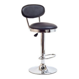 "LexMod - Retro Bar Stool in Black - Retro Bar Stool in Black - Ahead of its time, the Retro Bar Stool of the 1950s is a timeless piece of intrigue for all generations. Known for its simple vision and drive for advancement, this work is a classic brimming with buoyancy and rich experiences. Extraordinary qualities abound from a time when things were a lot more simple and direct. Set Includes: One - Retro Bar Stool Popular in restaurants and homes, Fits most bars and countertops, Padded vinyl seat & back, Height adjustable hydraulic lift, Polished chrome-finished base, Tubular footrest for support, Easy wipe clean surface Seat Height: 22 - 30""H Overall Product Dimensions: 14""L x 14""W x 37.5 - 45.5""H - Mid Century Modern Furniture."