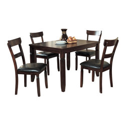 Homelegance - Homelegance Oklahoma 5-Piece Rectangular Dining Room Set in Espresso - Sturdy for the daily activities of your family, the cozy 5-piece Oklahoma collection is the perfect addition to your dining space. Substantial double notched legs - a design that carries to the bi-cast vinyl seated chairs - support the double thick table top. The Espresso finish along with the transitional design, allows for placement in a number of home designs.