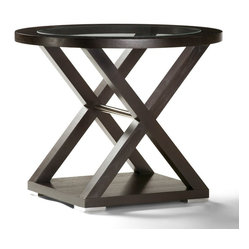 Allan Copley Designs Halifax 30x20 Oval Glass Top End Table in Espresso w/ Brush