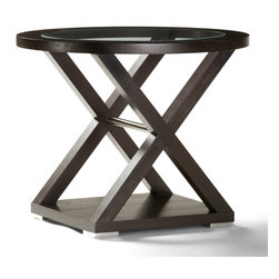 Allan Copley Designs - Allan Copley Designs Halifax 30x20 Oval Glass Top End Table in Espresso w/ Brush - The Halifax Collection by Allan Copley Designs presents a view into refined sophistication. Brilliant design provides an aesthetic masterpiece for your home's decor by bringing all the elements together. Deep Espresso on Ash finish with Brushed Stainless Steel Accents creates a balanced, refined look. The Halifax Collection includes Rectangular Cocktail, Oval End, Console Table, Round Dining Table, Serving Cart and Buffet. What's included: End Table (1).