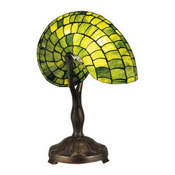 Dale Tiffany - Dale Tiffany TT13116 Green Nautilus 1 Light Table Lamp - Features: