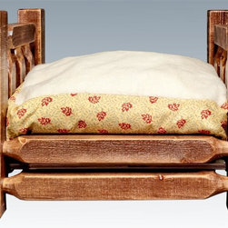 Montana Woodworks - 26 in. Pet Bed with Mattress - Handcrafted. Rustic timber frame design. Heirloom quality. Edge glued panels. Made from solid U.S. grown wood. Stained and lacquered finish. Made in USA. Minimal assembly required. Mattress: 24 in. L x 16 in. H. Overall: 26 in. L x 21 in. W x 17 in. H (26 lbs.). Warranty. Use and Care InstructionsMontana woodworks incredibly popular pet bed allows your pet to snuggle into a luxurious, fleece lined mattress for a comfortable healthy rest. The artisans use the mortise and tenon joinery system to ensure this item will withstand years of use.
