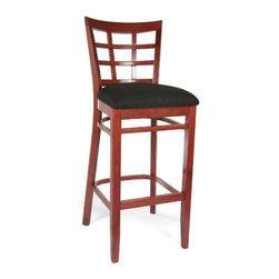 "Beechwood Mountain LLC - Lattice Barstool - Features: -Finish: Rich Mahogany. -Solid beech wood construction. -Seat color: Black. -Seat material: Chenille. Dimensions: -43.5"" H x 16.5"" W x 20.5"" D, 25 lbs."