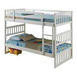 """ACMACM37070 - Cutie Collection White Finish Wood Twin Over Twin Convertible Bunk Bed Set - Cutie Collection White Finish Wood Twin Over Twin Convertible Bunk Bed Set. Measures 78"""" x 42"""" x 61""""H. Some assembly required."""