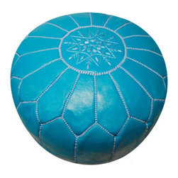 Leather Moroccan Pouf | Jonathan Adler - This stylish and chic turquoise pouf is not only a fabulous way to add color to a space, it also functions as extra seating. Place one next to an accent chair in your living room or a pair of them in front of a fireplace!