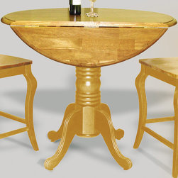 Sunset Trading - Eco-friendly Round Cafe Table in Light Oak - Two 10 in. drop leafs. Solid handcrafted hardwood. Accommodates two to four people. Sturdy quality craftsmanship. Warranty: One year. Made from Malaysian oak. Made in Malaysia. Assembly required. 42 in. Dia. x 36 in. H (73.2 lbs.)Add classic charm to your home without compromising space or style.  Perfect for a small dining area or cozy nook, this Sunset Trading - Sunset Selections Collection double Drop Leaf Table serves your day-to-day needs yet transforms into the extra needed dining space when guests drop by. It may be small in size but it's large in versatility to meet your dining needs.