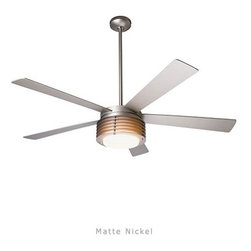 "Modern Fan - Flute ceiling fan - The Flute ceiling fan was designed by Ron Rezek for The Modern Fan Co. The Flute fan may reference a centuries-old Roman architectural theme, but it is modern in every respect. The optional light features detailing complementary to the die-cast body and is available with incandescent or compact fluorescent lamping. The Flute includes 2 standard down-rods, 4"", & 12"", yielding 16"", 24"", overall lengths respectively. Accessory down-rods are available for longer overall lengths."