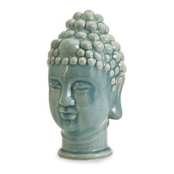 Taibei Ceramic Buddha Head - A jade green crackle glaze gently finishes the Taibei ceramic Buddha head. a perfect mix of Asian inspiration and good Karma are sure to develop with the presence of Buddha in your home.