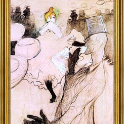 """Henri De Toulouse-Lautrec-18""""x24"""" Framed Canvas - 18"""" x 24"""" Henri De Toulouse-Lautrec Le Goulue and Valentin, the 'Boneless One' framed premium canvas print reproduced to meet museum quality standards. Our museum quality canvas prints are produced using high-precision print technology for a more accurate reproduction printed on high quality canvas with fade-resistant, archival inks. Our progressive business model allows us to offer works of art to you at the best wholesale pricing, significantly less than art gallery prices, affordable to all. This artwork is hand stretched onto wooden stretcher bars, then mounted into our 3"""" wide gold finish frame with black panel by one of our expert framers. Our framed canvas print comes with hardware, ready to hang on your wall.  We present a comprehensive collection of exceptional canvas art reproductions by Henri De Toulouse-Lautrec."""