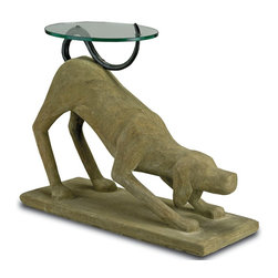 Currey and Company - Rolf Occasional Table - A playful dog sculpture with a faux bois base, iron tale and small glass table top. This is a unique conversation piece for the exuberant personality.