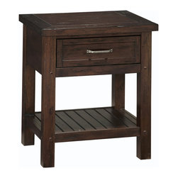None - Cabin Creek Night Stand - Bring rustic charm into your bedroom with this wood night stand from Cabin Creek. The vintage look of this night stand is achieved by hand-distressing the wood for a unique appearance. A lovely chestnut finish and storage shelf complete the look.