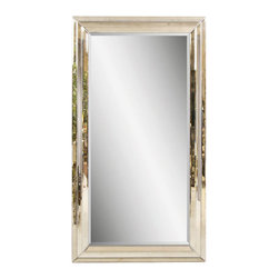Bassett Mirror - Beveled Glass Floor Mirror in Antique-Style F - Rectangular shape. Leaning mirror. Decorative mirror. 47 in. L x 83 in. H (114 lbs.)