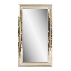 Bassett Mirror - Beveled Glass Floor Mirror in Antique-Style F - Rectangular shape. Leaning mirror. Decorative mirror. 47 in. L x 83 in. H (114 lbs.)