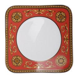 Versace - Versace Medusa Red Square Salad Plate - Versace Medusa Red Square Salad Plate