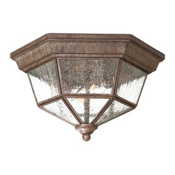 Minka Lavery - Minka Lavery Outdoor 8619-A61 Taylor Court Vintage Rust 2 Light Flush Mount - Clear Seeded Glass Shade