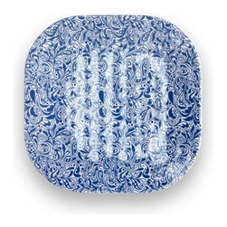 Q Squared NYC - Sanibel Salad Plate Set/6 - Disappear to the Sandy Beaches of Sanibel Island with pretty pastels and paisley prints.